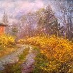 Forsythia Path by Tatiana Rhinevault