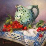 Green Pitcher and Cherries by Mireille Duchesne